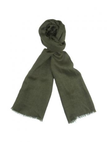 墨绿色亚麻混纺流苏围巾